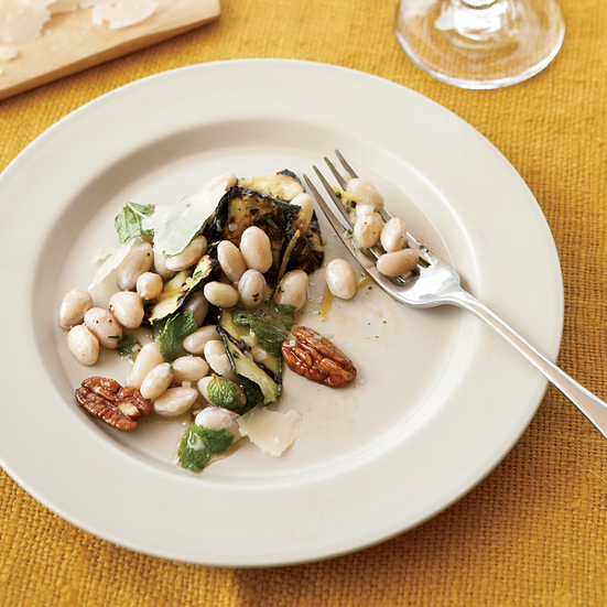 Zucchini Ribbons with Cranberry Beans and Pecans