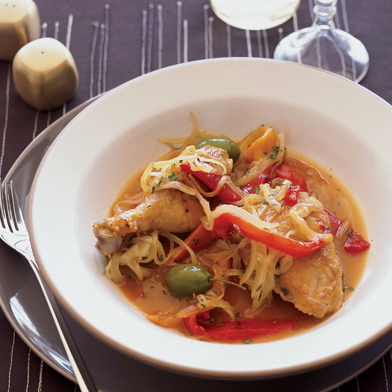 Braised Chicken with Olives and Sweet Peppers