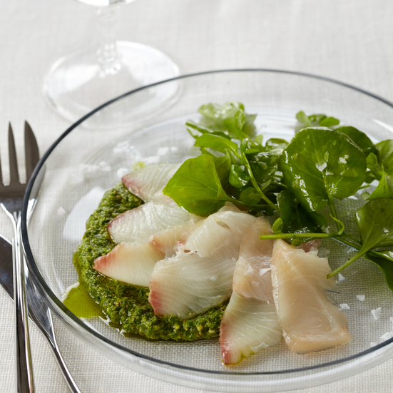 Red Snapper Crudo with Watercress Pesto