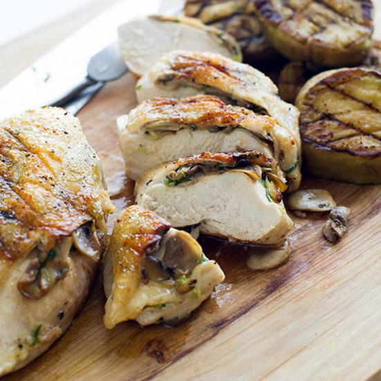 Mushroom-Stuffed Five-Spice Chicken Breasts with Eggplant