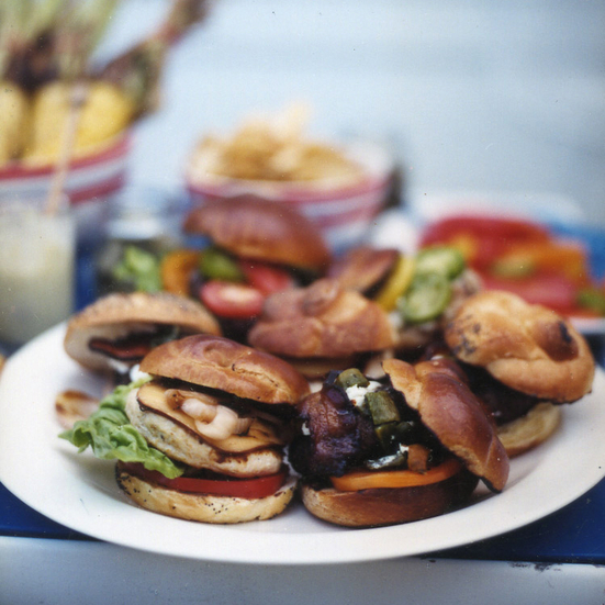 Green-Chile Bacon Burgers with Goat Cheese