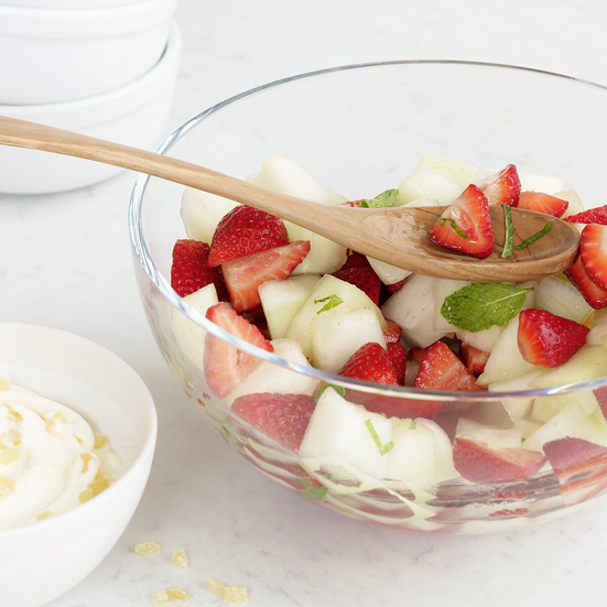Melon and Strawberry Salad with Spicy Lemongrass Syrup
