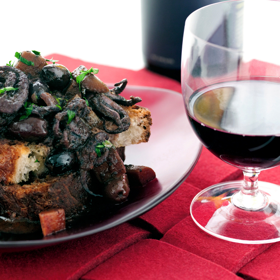 Red Wine Braised Baby Octopus with Black Olives
