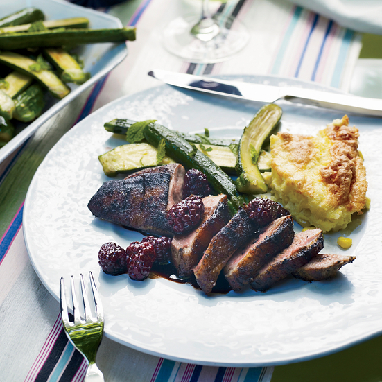 Grilled Spiced Duck Breasts with Blackberries