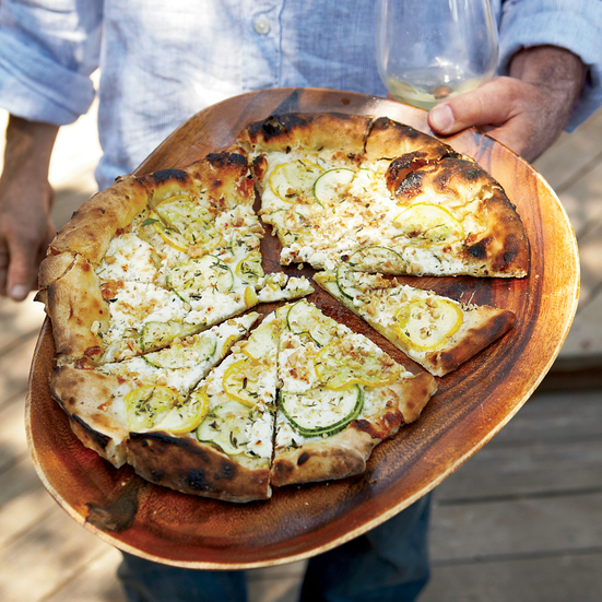 Summer Squash Pizza with Goat Cheese and Walnuts