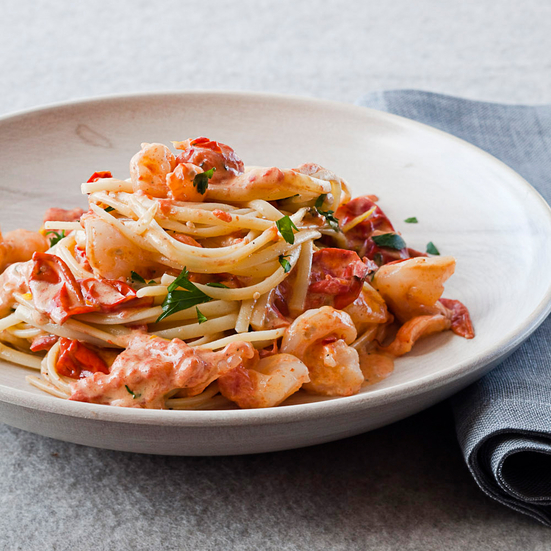 Linguine with Shrimp and Creamy Roasted Tomatoes Recipe - Melissa ...