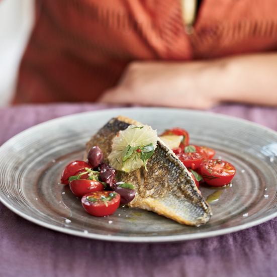 Sea Bass with Tomato and Black Olive Salsa
