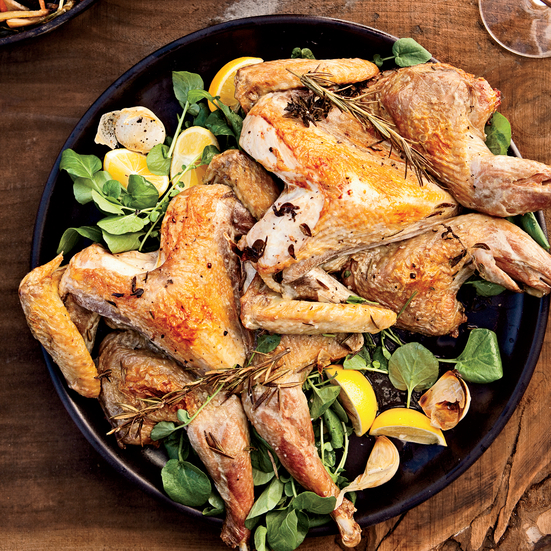 Roasted Guinea Hens with Braised Vegetables