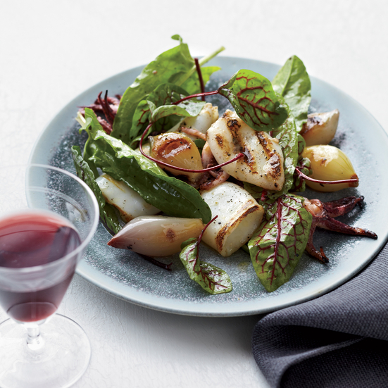 Grilled Squid and Torpedo Onions with Sorrel