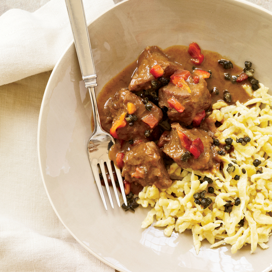 Veal Goulash with Paprika, Caraway and Fried Capers