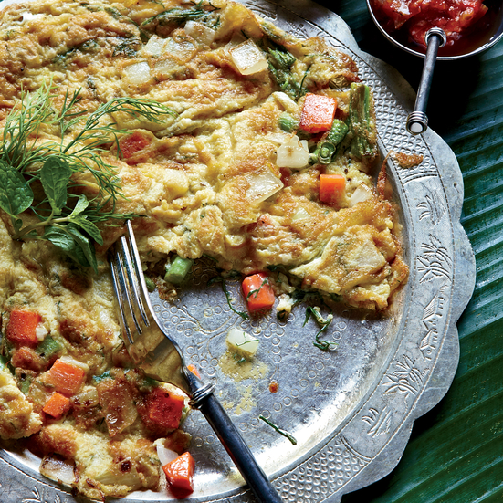 Lao Omelet with Dill, Scallion and Thai Chile.
