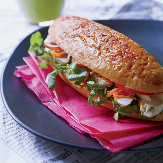Lao-Style Chicken Baguette Sandwiches with Watercress.