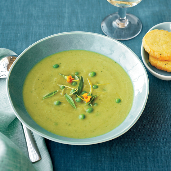 Asparagus Soup with Parmesan Shortbread Coins. Photo © David Malosh