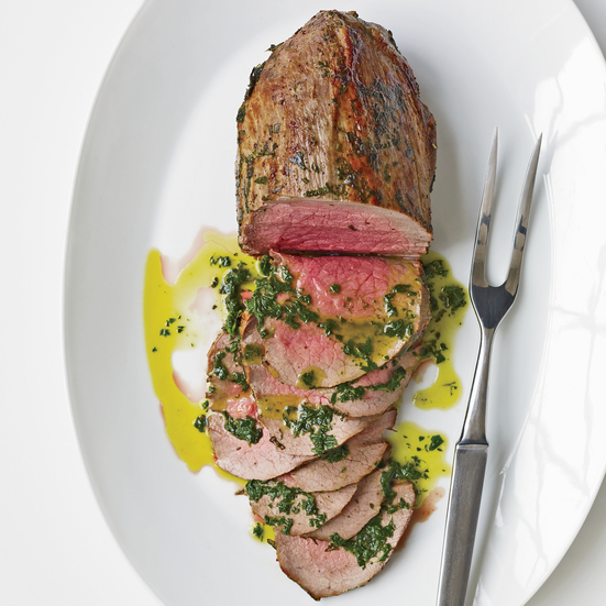 Rare Roast Beef with Fresh Herbs and Basil Oil. Photo © Antonis Achilleos