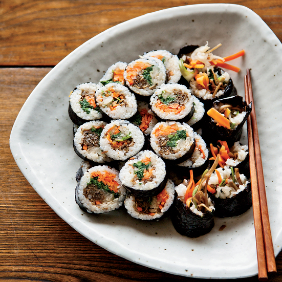 Korean Sushi Rolls With Walnut Edamame Crumble on oscar party dishes
