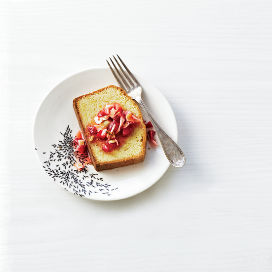 Strawberry-and-Wild-Fennel Compote with Pound Cake. Photo © Kate Mathis