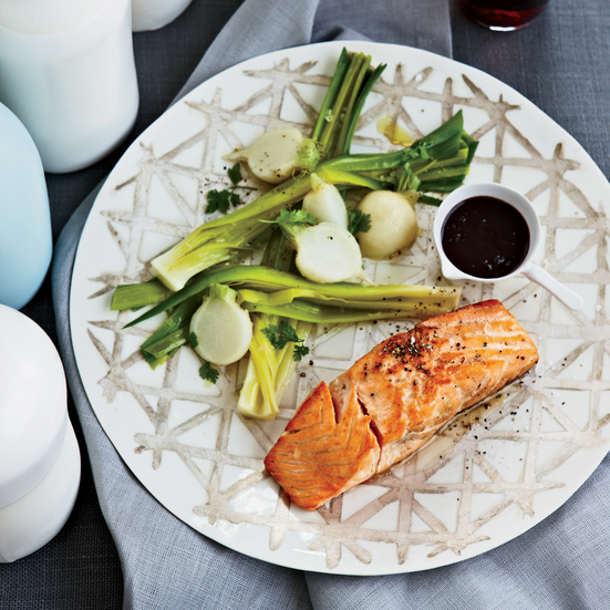 salmon with red wine balsamic sauce harissa spiced salmon with israeli ...