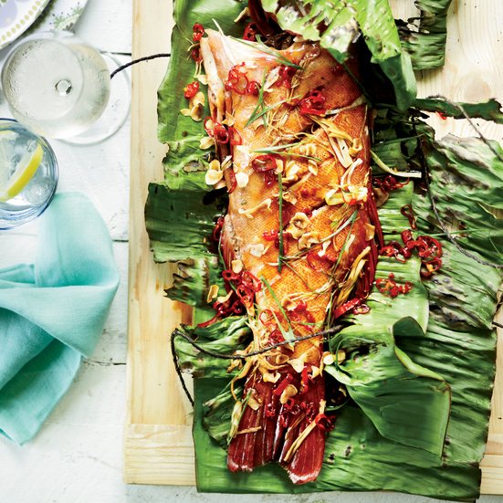 Whole Grilled Fish with Crispy Garlic and Red Chiles. Photo © Anson Smart