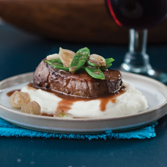 Beef Tenderloin with Cilantro Wine Sauce and Mashed Yucca