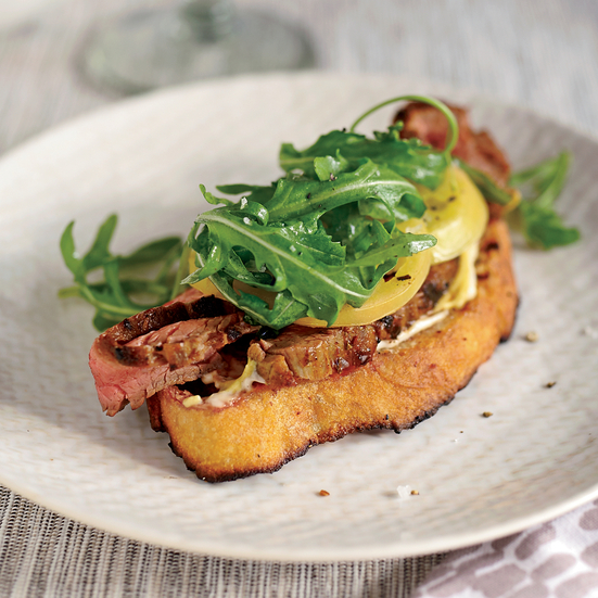 Open-Face Steak Sandwich with Pickled Green Tomatoes. Photo © David Malosh