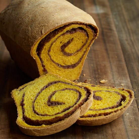 Raised Pumpkin Bread with a Pumpkin-Pecan-Cranberry Swirl