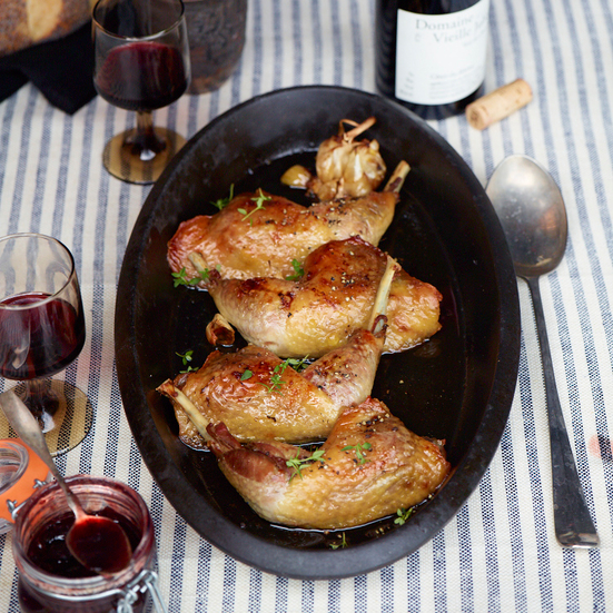 Confit of Guinea Hen Legs with Prunes and Honey
