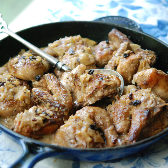Pan-Roasted Cornish Hens with Calvados and Apples