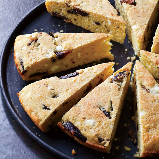 Skillet Corn Bread with Figs, Feta and Rosemary
