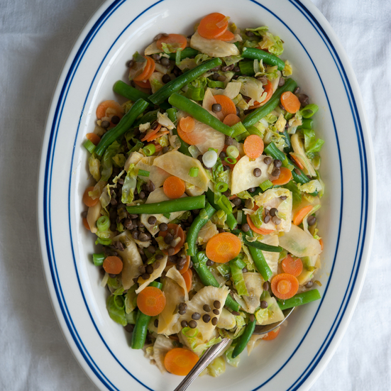 Five-Vegetable Stir-Fry with Lentils