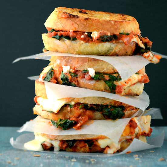 Grilled Cheese with Spinach-and-Tomato Sauce
