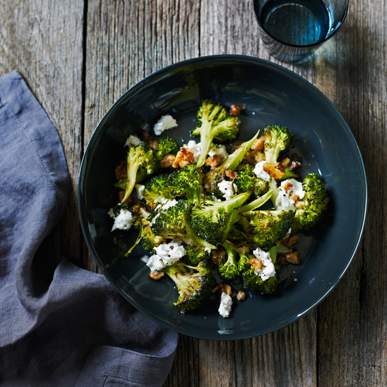 Roasted Broccoli with Walnuts and Goat Cheese