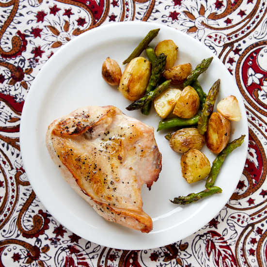 Roasted Chicken, New Potatoes, and Asparagus