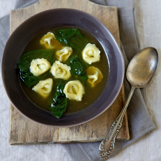 Tortellini and Spinach in Garlic Broth