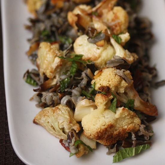 Wild Rice with Roasted Cauliflower and Nuts