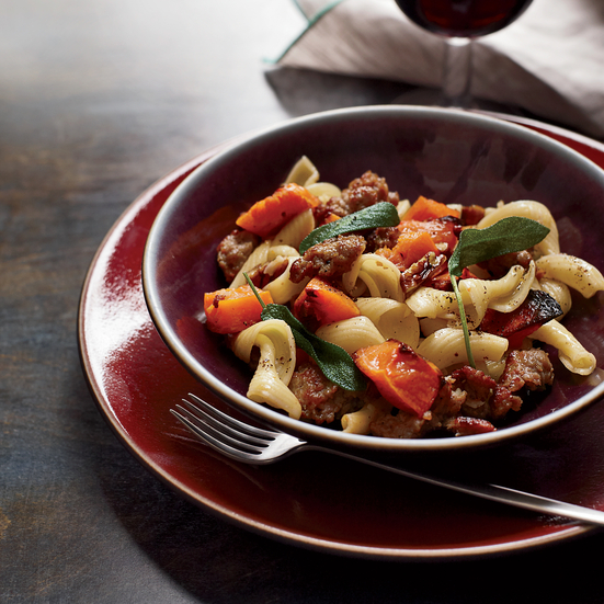 Pasta with Roasted Squash, Sausage and Pecans Recipe - Emeril Lagasse ...