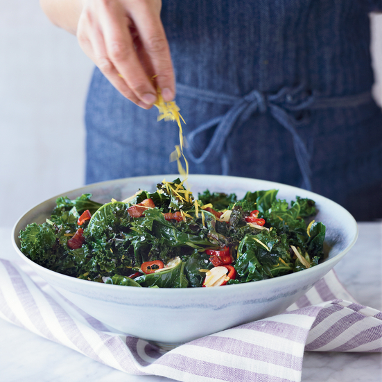 Grilled Kale with Garlic, Chiles and Bacon