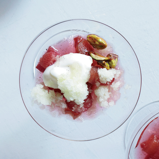 Poached Rhubarb with Melon Granita