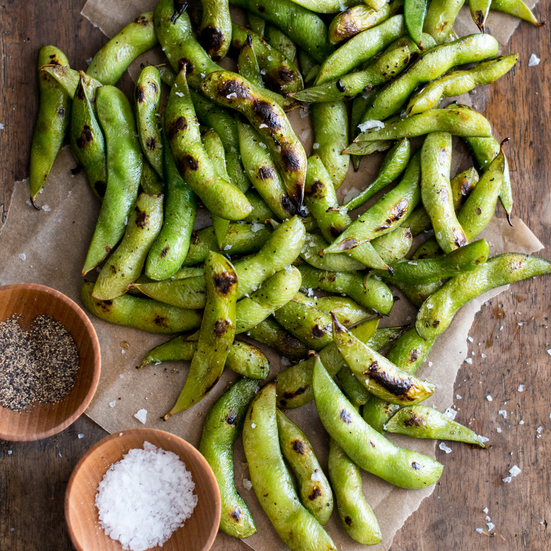 Charred Edamame with Sea Salt and Black Pepper
