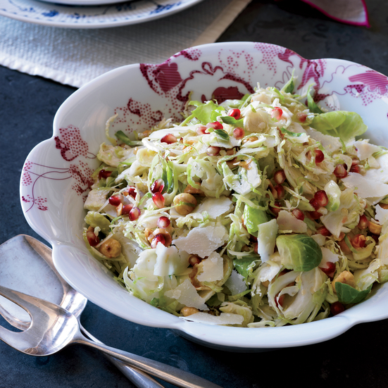 Brussels Sprout Slaw with Hazelnuts and Pomegranate