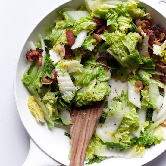 Stir-Fried Cabbage with Bacon & Dried Shrimp