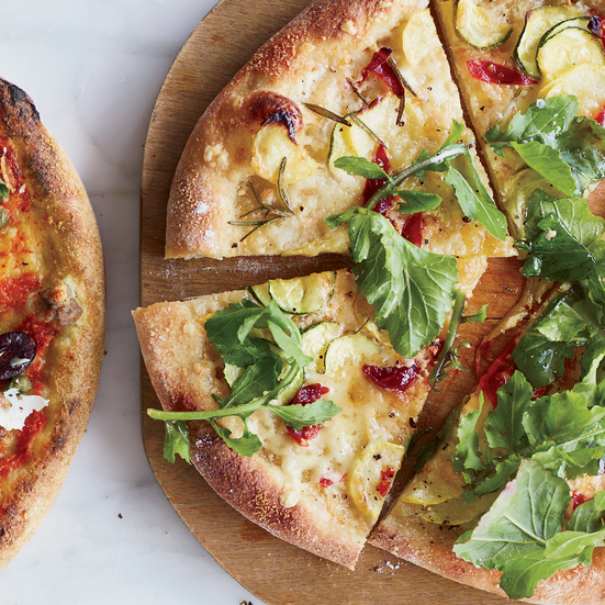 Summer Squash-and-Arugula Pizza with Fontina Cheese