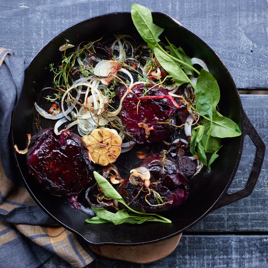 Crushed Beets with Herbs and Arugula