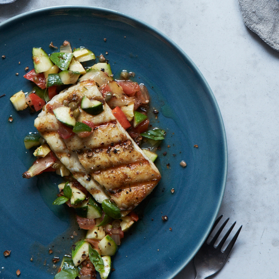 Halibut with Grilled Ratatouille