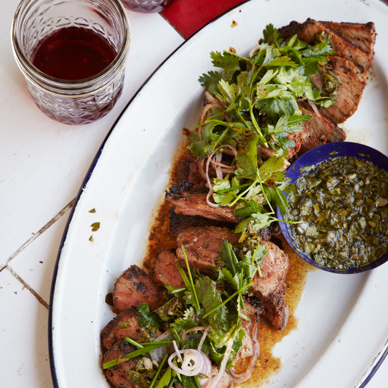 Coffee-Rubbed Strip Steaks with Chimichurri Sauce Recipe - Tim Byres ...