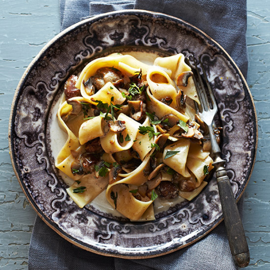 Pappardelle with Chicken Livers and Mushrooms
