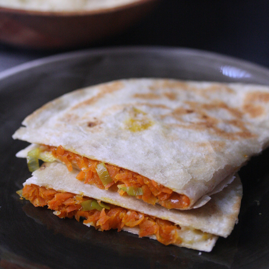 Carrot and Leek Quesadillas