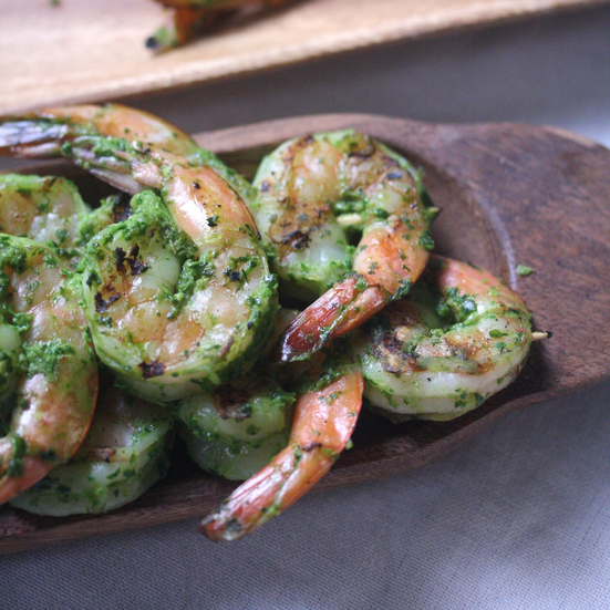 Grilled Shrimp with Green Harissa