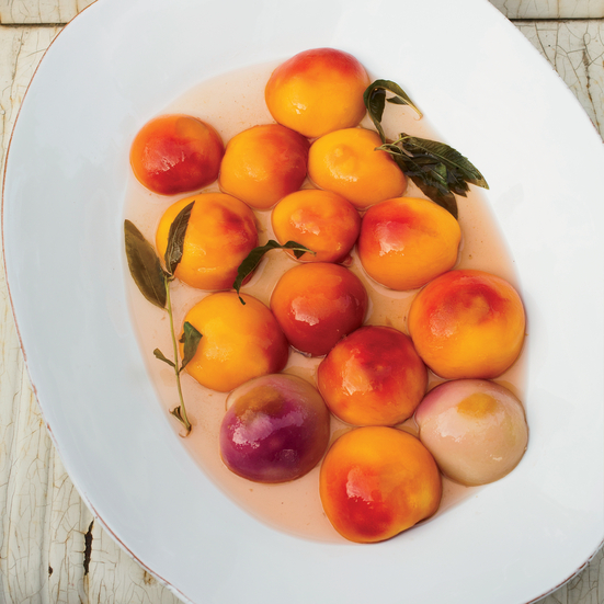 Poached Peaches with Baked Ricotta