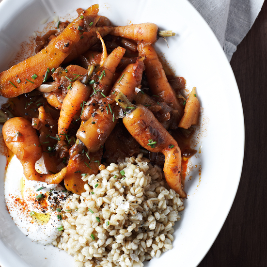 Carrots with Caraway Yogurt and Wheat Berries