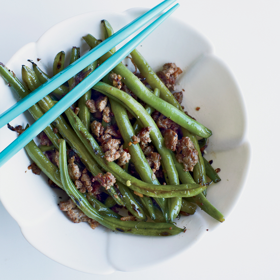 Chinese Long Beans with Minced Pork and Ginger